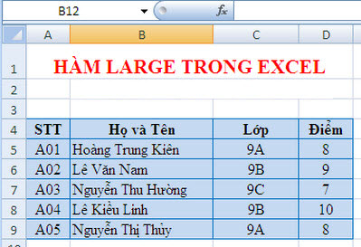 hàm large trong excel 2007