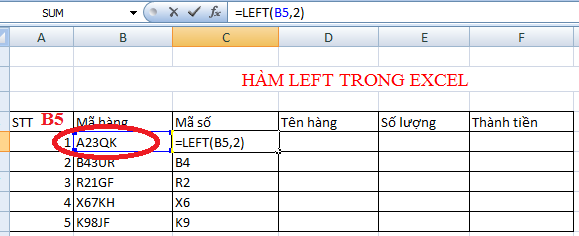 hàm left trong excel 2007