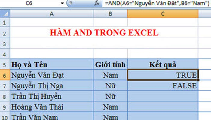 sử dụng hàm and trong excel