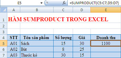 dùng hàm sumproduct trong excel